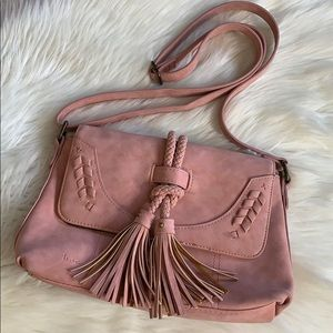 b.o.c • faux suede tassel crossbody purse